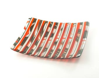 Unique Serving Plate, Decorative Dish, Fused Glass Platter, Gray and Orange Kitchen Decoration, Cool Home Accent, Foodie Hostess Gift
