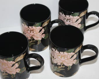Set 4 Vintage Fitz and Floyd Cloisonne Peony Mugs 1970's and 1980's/Black Floral Mugs Gold Trim