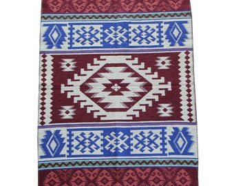 Reversible Kilim Rug - Small Turkish Kilim Rug or Mat in Blue, Green and Brown - 127cm x 77cm