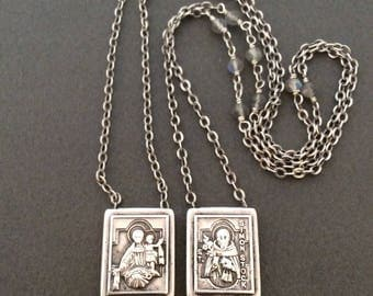 Vintage Sterling Silver St. Simon Stock and Our Lady of Mount Carmel Scapular Necklace, Labradorite Gemstones