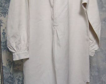 Antique French Night Shirt. hand stitched. Hemp, Mono AM. in very good order. Artist Smock.  Rustic