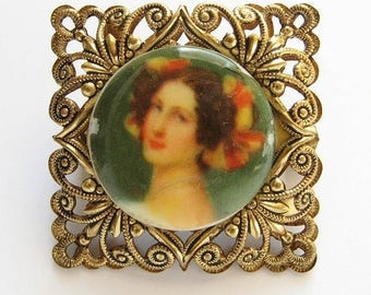Vintage Western Germany Filigree Portrait Brooch Small Square Openwork Pin 1950s