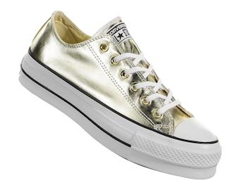 Gold Platform Converse heel wedge Metallic Lift Low Top Club shoe Custom w/ Swarovski Crystal Rhinestone Chuck Taylor All Star Sneaker Shoe