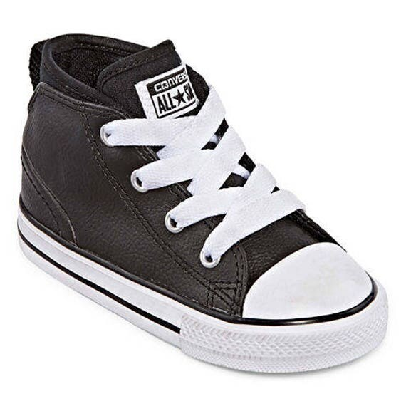 Converse Infant Toddler Baby Black Leather Chuck Taylor Mid Rise All Star Shower Christening Gift w/ Swarovski Crystal Rhinestone Crib Shoe