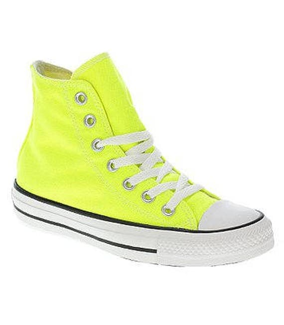 Yellow Converse High Top Electric Neon Lemon Bright Bling Canvas w/ Swarovski Crystal Rhinestone Chuck Taylor All Star Sneakers Shoes