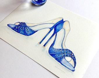 Fashion Print Blue Shoes Fashion Illustration Shoes Fashion Wall Art High Heels Shoes Wedding Shoes Art Print 8 x 12 with Swarovski Crystals