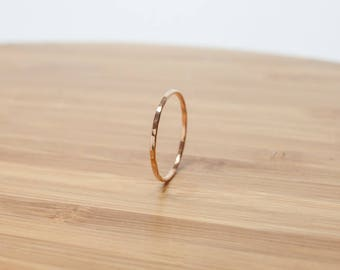 14k Rose Gold Stacking Rings - Hammered 14k Rose Gold Filled - Dainty Thin Stack Rings Textured Stackable Rings