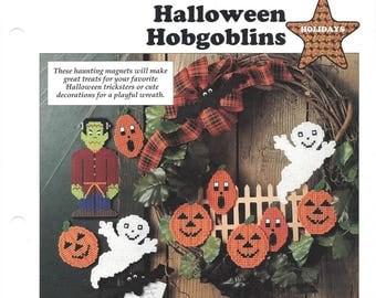Halloween Hobgoblins Plastic Canvas Pattern, Halloween Wreath & Magnets, Holiday Decor, Bat, Ghost, Monster, Pumpkins, Leisure Arts