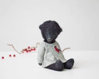Made To Order Black Mohair Teddy Bear Bullfinch Embroidered Jacket 7 Inches, Stuffed Animal, Handmade Toy, Artist Teddy Bear, Christmas Gift