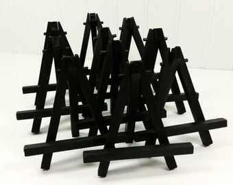 Small Black Wood Tabletop Easels for Miniature Art Place Cards Wedding Display Table Signs, Set of 10