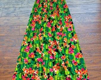 Vintage Retro 60s 70s Empire Waist Hippy Bohemian Fairy Princess Hawaiian Maxi Dress S M