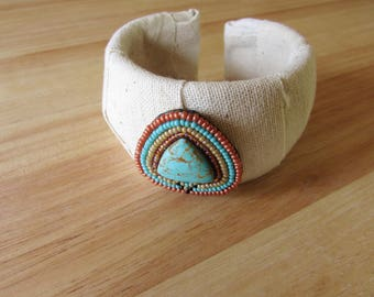 Fabric Wrapped Cuff Bracelet with Turquoise Beaded Accent