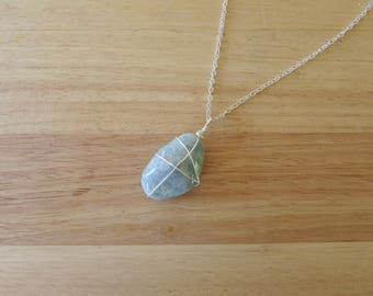 Wire Wrapped Aquamarine Necklace