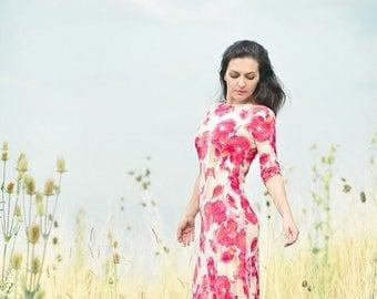 JULY 20 OFF Maxi Dress, Jersey Dress, Floral Poppy Dress