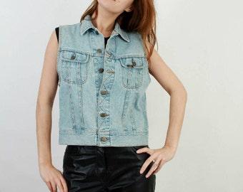 Lee Denim Vest / Vintage Lee Vest / Vintage Denim Vest / Blue Denim Vest / Vintage Lee / Woman Denim Vest / 90s Vest / Lee Vest /Medium Vest