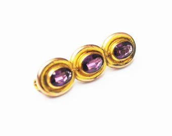 Small Vintage Bar Brooch - Amethyst Purple glass - Gold filled - C clasp Pin