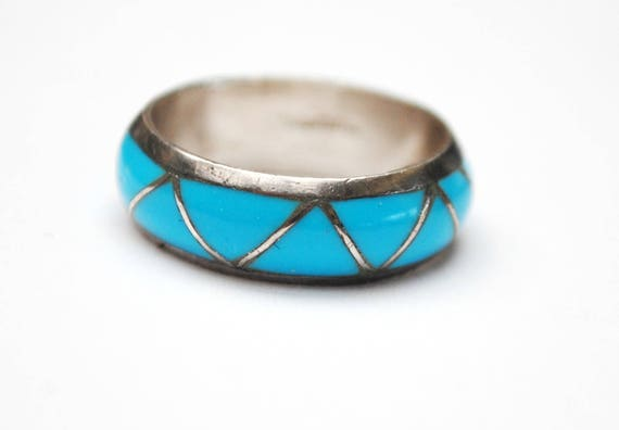 Turquoise sterling band ring - southwestern - Native American - size 6 1/2