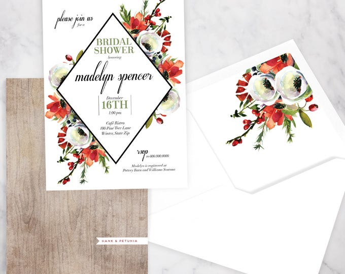 Featured listing image: Winter Watercolor Bridal Shower Invitation, Winter Bridal Shower Invitation, Christmas Bridal Shower Invite, Envelope Liner
