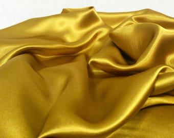 Mustard Yellow Polyester Satin Fabric, Yellow Material, Shiny Fabric, Shiny Material, Flowy Fabric, Remnant Fabric, Table Runner