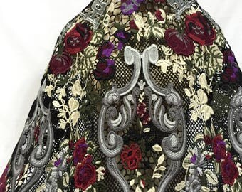 Guipure Lace, Lace, Floral Lace, Guipure, Multicolor Guipure, Lace Fabric, Black Lace, Dress Lace, Dress Fabric, See Through Lace