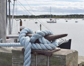 Cape Cod blue knotted rope - horizontal printed photograph
