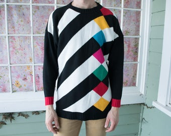 Vintage 80s 90s Colorful Diamond Pattern Sweater Hipster Sweater