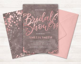 Bridal Shower Invitation, Rose Gold Invitation, Printable Bridal Shower Invite, Rose Gold Taupe Invitation, Pink Watercolor Bridal Shower