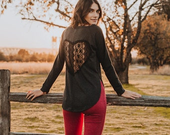 Give My Heart Back Sweater in Charcoal Black