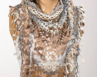 Cream Brown Gray Scarf. Hand made crochet scarf. Gift for her. Usable shrug and shawl.