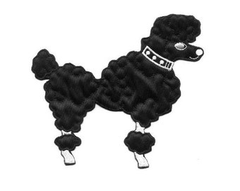 """Poodle - Dog - Black - 50's Poodle Skirt Embellishment - Embroidered Iron On Applique Patch - 6"""""""