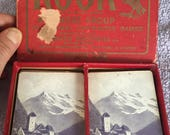 Vintage 1924 Rook Card Game Parker Brothers Complete Card Set w Instructions & Pamphlets European Rare Mountain Scene on Cards