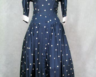 1950s Dress Polka Dots Full Skirt Lucy Dress Vintage Navy White Dots