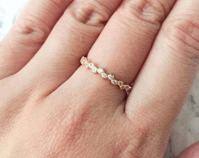 Stacking CZ Bubble Ring - Rose Gold Plated Sterling Silver