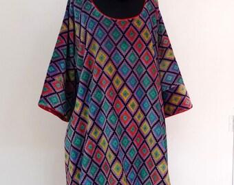 TUNIQUE longue  et ample en velours de coton violet et multicolore à motifa losanges