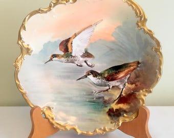 Limoges Bird Plate/France Antique Plate/1900 Game Plate/Limoges Birds Artist RENE/Art Nouveau Plate/Gold Trim Limoges Game Plate 2 Birds VG