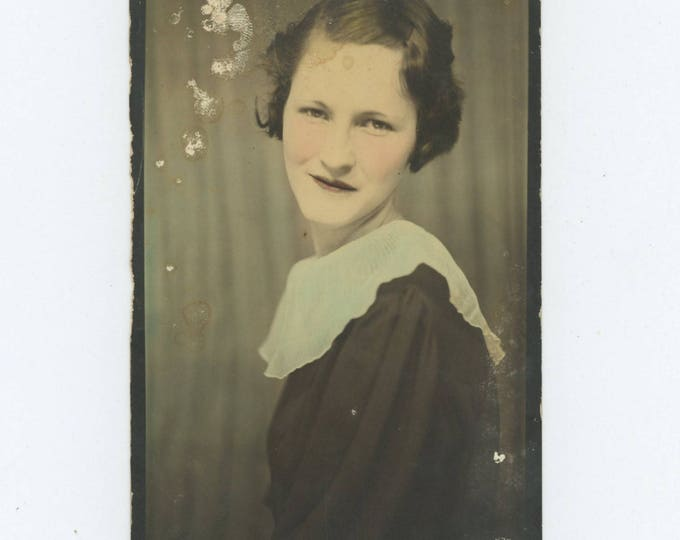 "Vintage Enlarged & Tinted Photo Booth: ""Oleta Young"" c1920s-30s (712631)"