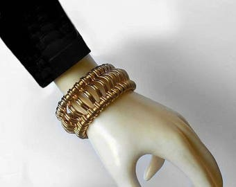 CIJ SALE Vintage  WIDE heavy Bracelet Kramer of New York Gold tone