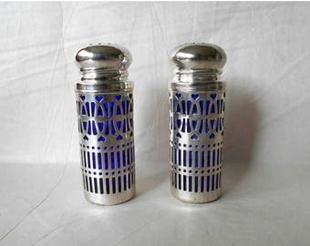CIJ SALE Vintage Cobalt Blue glass Salt and Pepper Silver Plated Liner Casing with hearts