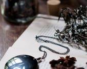 Obsidian mirror necklace, scrying pendant, large black gemstone, geometric jewellery, Magick, black obsidian necklace.