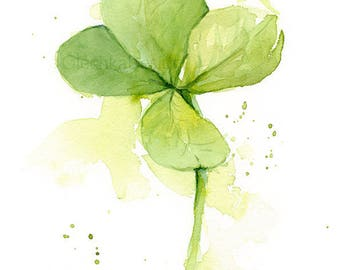 Four Leaf Clover Watercolor Art Print of Painting, Plants, St Patrick's, Lucky Charm, Green Decor, Clover Illustration, Abstract Clover