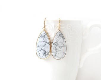 Polished Gold Plated Teardrop White and Grey Howlite Earrings