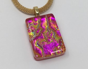Dichroic Glass Pendant, Fused Glass Jewelry, Magenta Red Gold Dichroic Necklace
