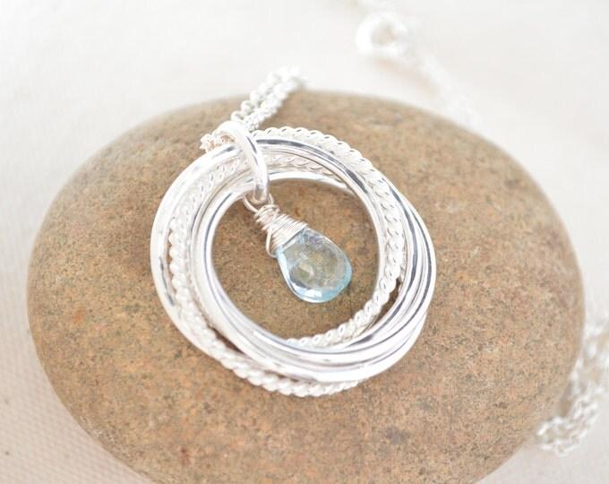 50th Birthday gift for Mom, 50th Birthday gift for women, Blue topaz birthstone, December birthstone necklace, 5th Anniversary gifts
