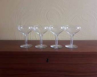 Set of 4  Vintage Mid Century Modern Hollow Stem Saucer Coupe Champagne/Wine Glasses - EX Condition