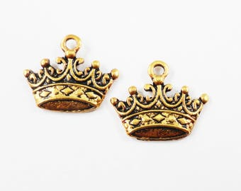 Gold Crown Charms 17x13mm Antique Gold Crown Pendants, King Crown Charms, Royalty Charms, Antique Gold Metal Charms for Jewelry Making, 10pc