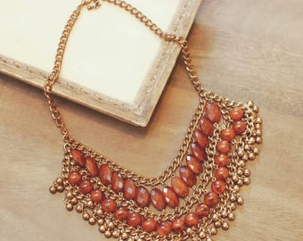 Vintage Bohemian Bib Necklace / Amber Beaded Gypsy Statement Necklace