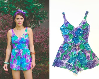 Vintage Playsuit Bathing Suit / 70s One Piece Romper Swimsuit / Maxine of Hollywood / Medium