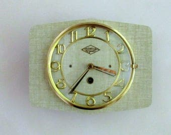 French 1950-60s Atomic Age LUTETIA - Pale Olive Green Wall Clock - Freeform Shape - Good Working Condition