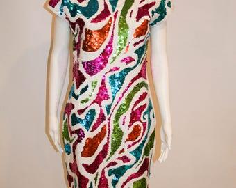 1980s Adrienne Vittadini Stunning Handsewn Sequin Dress