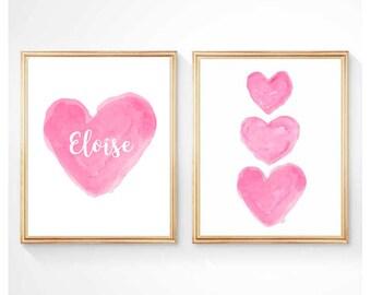 Hot Pink Nursery Art, Set of 2 - 8x10 Prints, Hot Pink Print, Kids Personalized, Hot Pink Wall Art, Girls Bedroom Art, Girls Room Decor